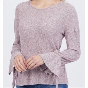 Lucky Brand marbled Tie Bell sleeve sweater